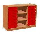 Zobrazit detail - Skříňka se dvěma policemi a 14 plastovými zásuvkami