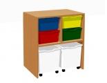 Zobrazit detail - Skříňka s 4 plastovými zásuvkami a 2 zásuvkami na kolečkách