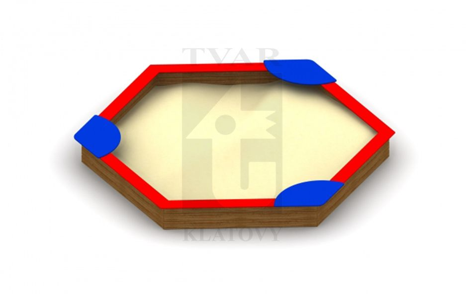 Pískoviště 6 úhelník s vrchní částí na sezení