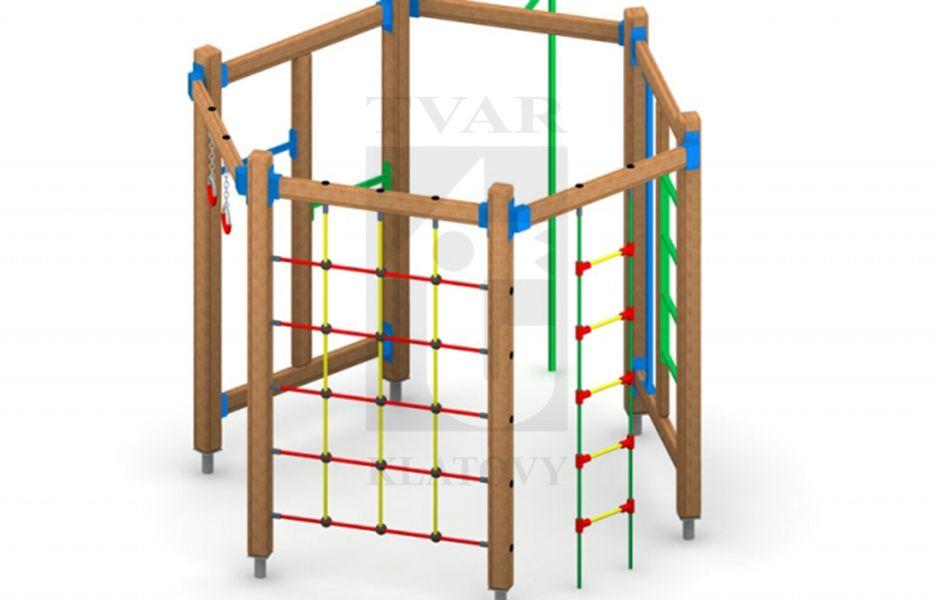 PA 2 - Tyč na šplh,  dvě hrazdy, lanový žebřík, gymnastické kruhy, ocelové žebřiny a lanová vertikální síť