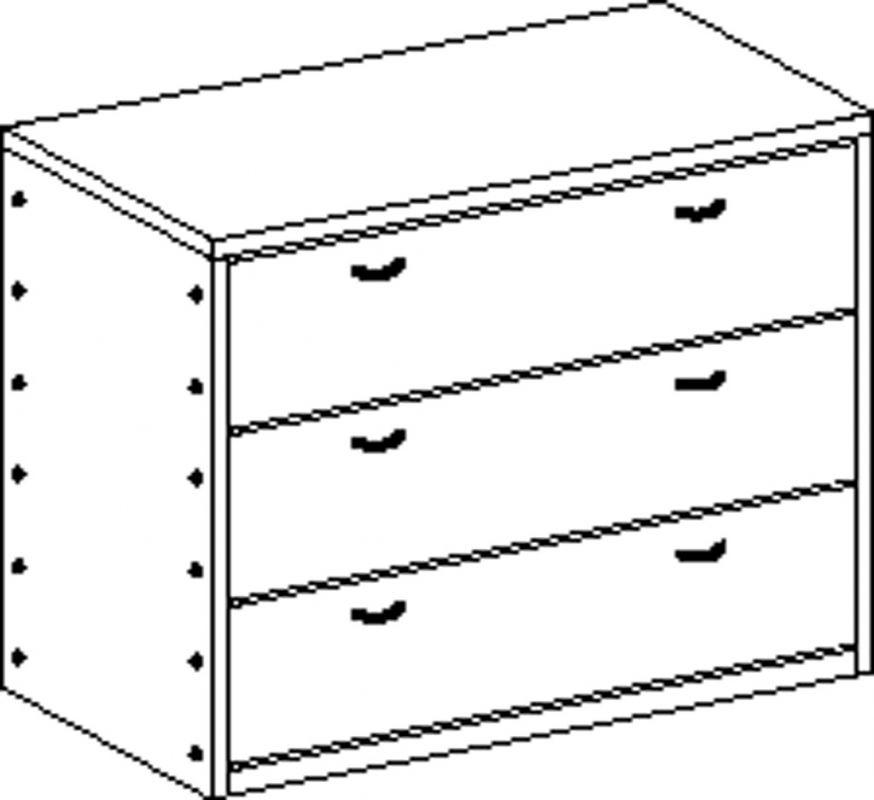 Skříňka bez soklu se 3 zásuvkami