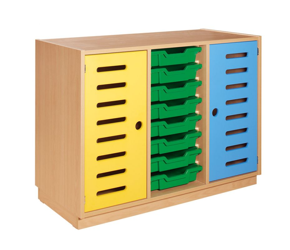 Skříňka s 2 dvěřmi a 8 plastovými zásuvkami