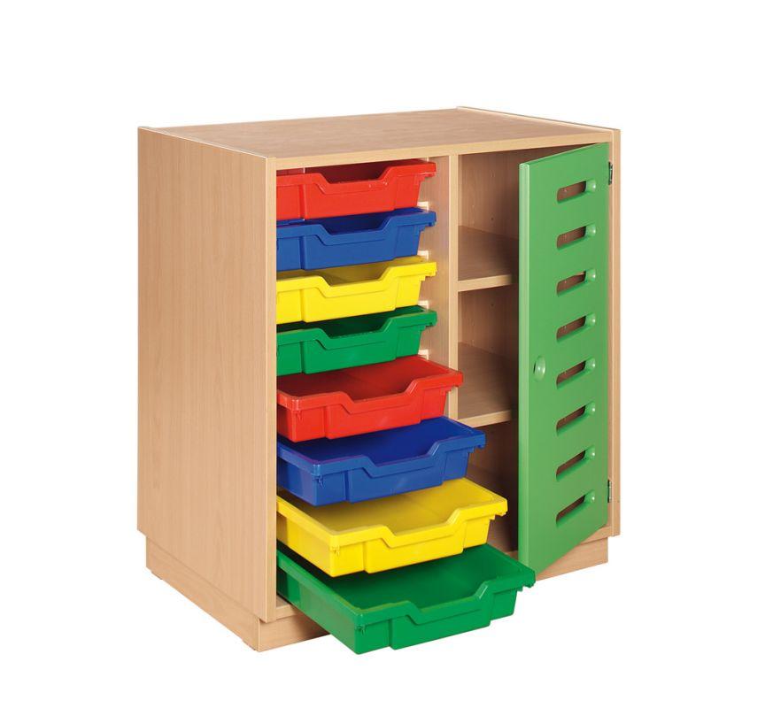 Skříňka s červenými dvířky a 8 plastovými zásuvkami