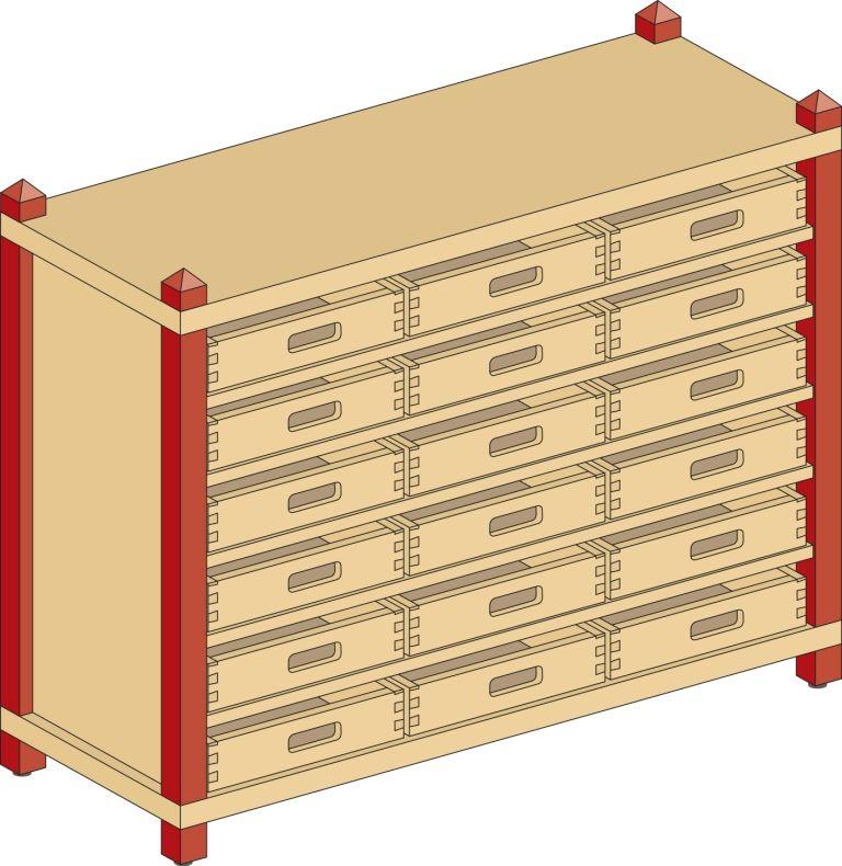 Skříňka s 5 vloženými policemi a 18 volnými zásuvkami