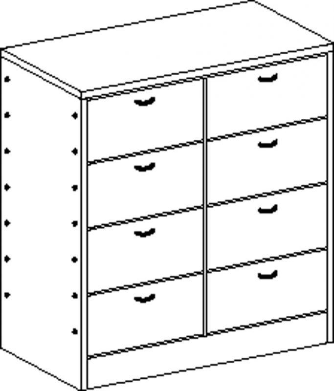 Skříňka se soklem s 8 zásuvkami