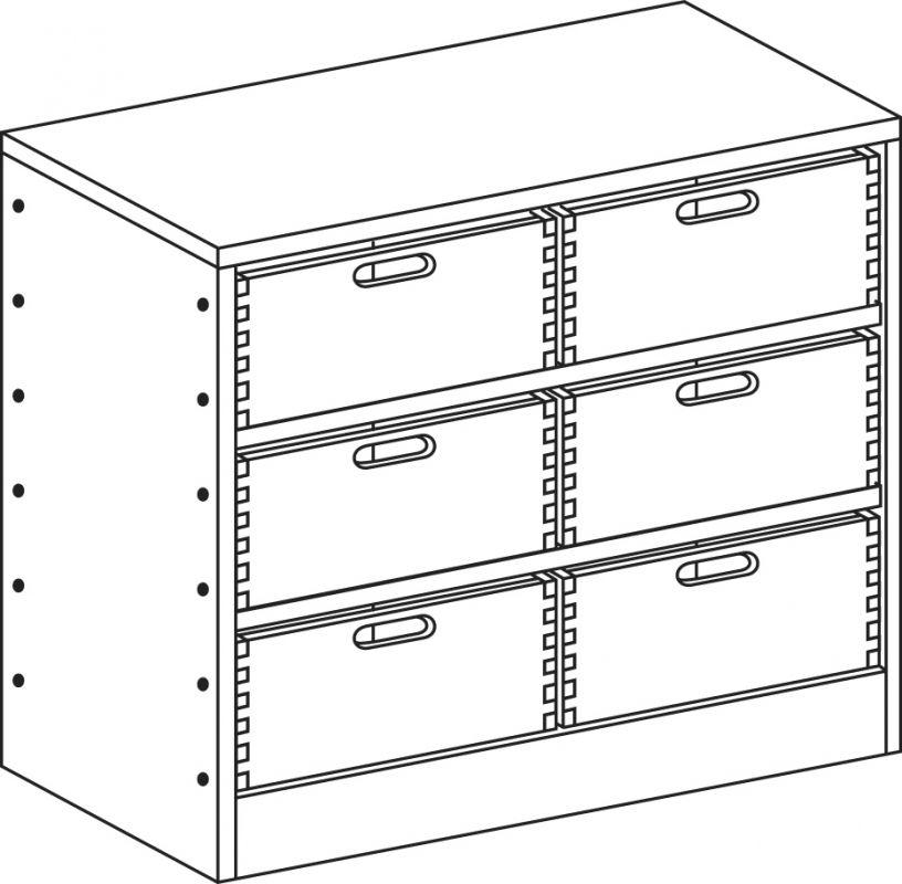 Skříňka se soklem se 2 policemi a 6 volnými zásuvkami