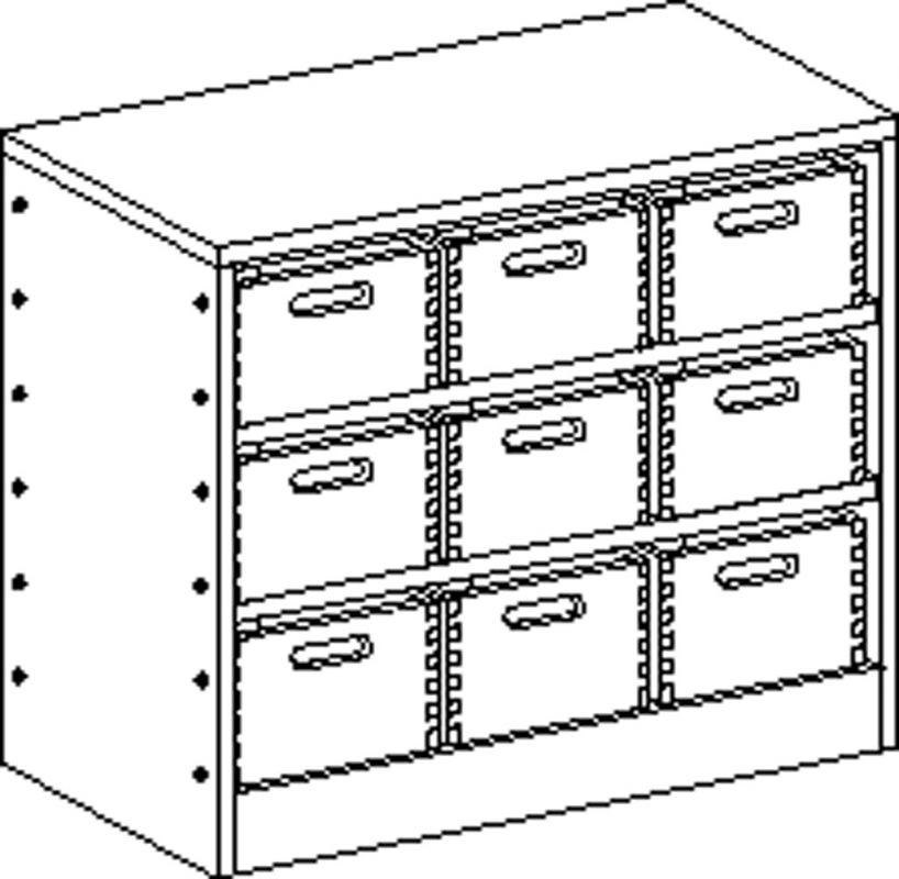 Skříňka se soklem se 2 policemi a 9 volnými zásuvkami