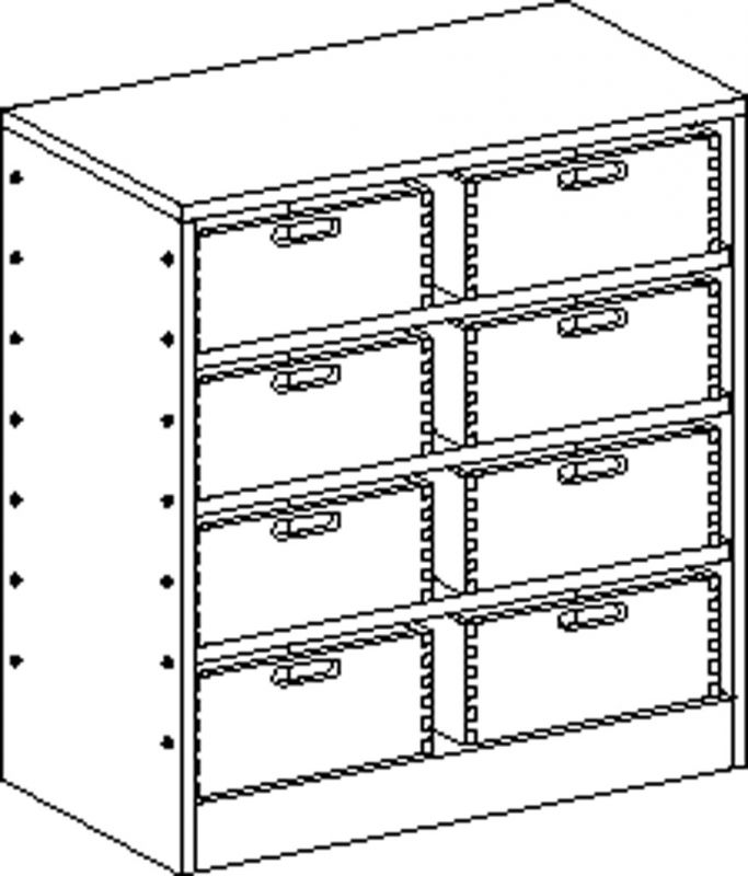 Skříňka se soklem se 3 policemi a 8 volnými zásuvkami