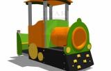 Lokomotiva s horolezeckými úchyty, tunelem a lavičkou