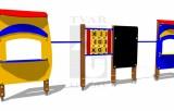 Sestava - dva obchůdky, tabule, piškvorky dvě tyče