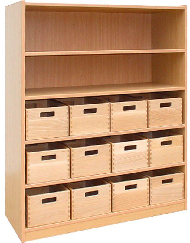 Skříňka se 4 vloženými policemi a 12 volnými zásuvkami