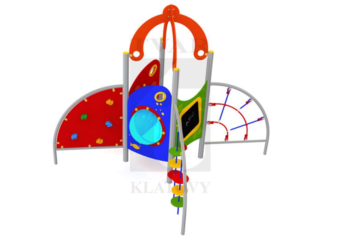 DOM 6 - Domeček s hodinami, stříškou, velkým oknem, tabulí horolezeckou stěnou, lanovou a 2 talířovými prolézačkami