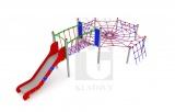 Lanová prolézačka pavučina s mostem a nerezovou skluzavkou