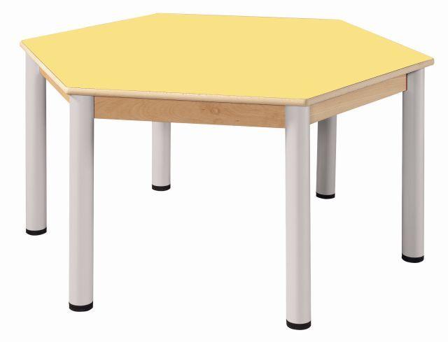 Stůl šestiúhelník 120 cm / výškově stavitelné nohy 52 - 70 cm