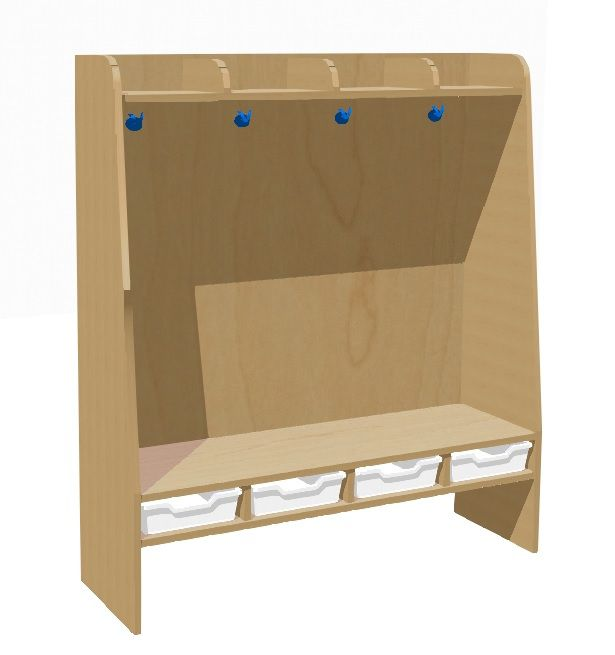 Kompletní šatnička 4 místná s plastovými boxy