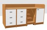 Přebalovací pult se zásuvkami,dveřmi a schůdkami