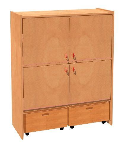 Skříňka čtyřdveřová s 2 zásuvkami na kolečkách