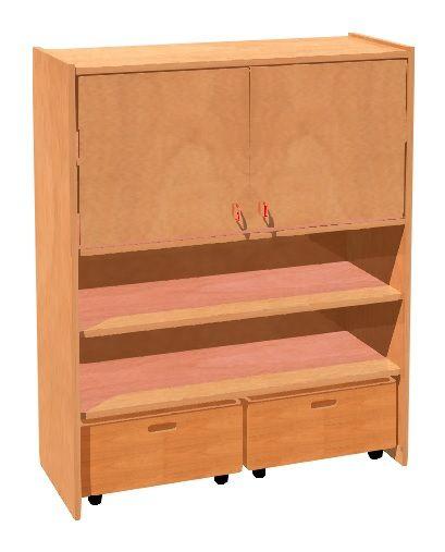 Skříňka dvoudveřová kombinovaná s policemi nad 2 zásuvkami na kolečkách