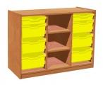 Skříňka s 6+2 plastovými zásuvkami a policemi