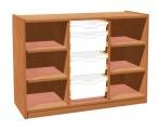 Skříňka se 4 policemi a 3+1 plastovými zásuvkami TVAR v.d. Klatovy