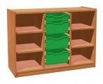 Skříňka se 4 policemi a 3+1 plastovými zásuvkami
