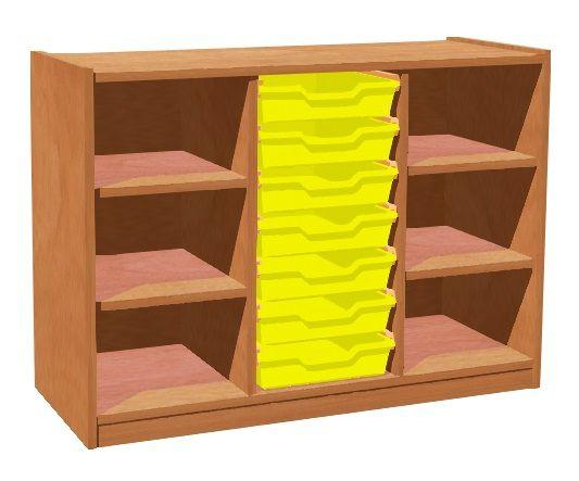 Skříňka se 4 policemi a 7 plastovými zásuvkami TVAR v.d. Klatovy