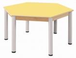 Stůl šestiúhelník 120 cm / výškově stavitelné nohy 40 - 58 cm