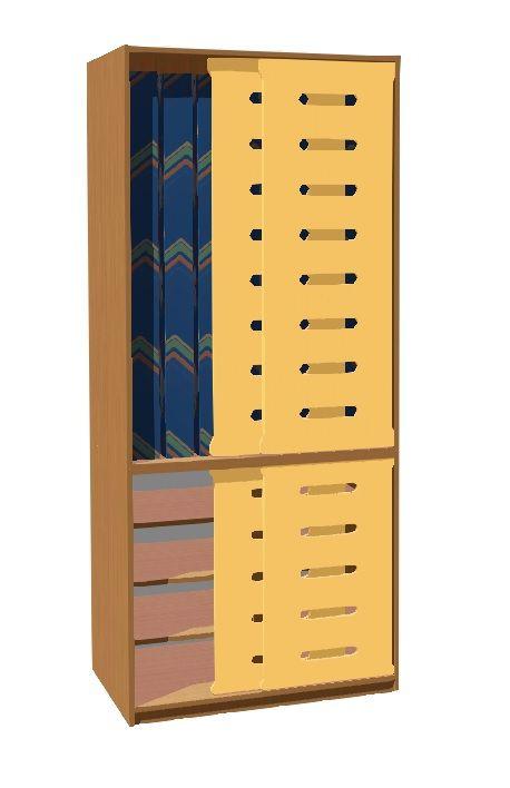 Skříň na lůžkoviny a matrace 140cm pro 8 dětí (posuv. dveře)