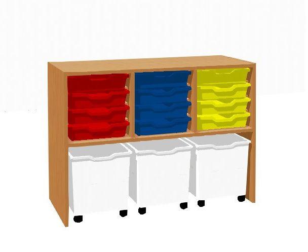 Skříňka policová s 12 plastovými zásuvkami a 3 zásuvkami na kolečkách TVAR v.d. Klatovy