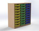 Skříňka s 27 plastovými zásuvkami, výška 100 cm