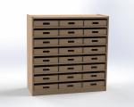 Skříňka se 7 vloženými policemi a 24 volnými zásuvkami, výška 100 cm