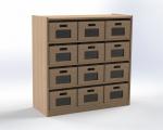 Skříňka se 3 vloženými policemi a 12 volnými zásuvkami, výška 100 cm, modrá