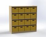 Skříňka se 3 vloženými policemi a 16 volnými zásuvkami