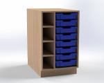 Skříňka pro přebalovací pult s 8 plastovými zásuvkami (levá), š.52,5 cm