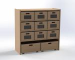 Skříňka se 1 vloženou policí a 11 volnými zásuvkami, výška 100 cm