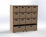 Skříňka se 2  vloženými policemi a 12+2 volnými zásuvkami