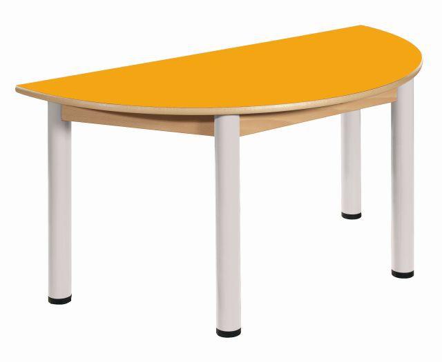 Stůl výškově stavitelný půlkulatý 120 x 60 cm / výška 58 - 76 cm