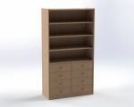 Skříňka s volnými policemi a 8 zásuvkami